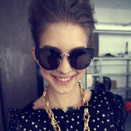 日韓歐美配件造型 金屬半框貓眼圓框 太陽眼鏡 男女適用-3色