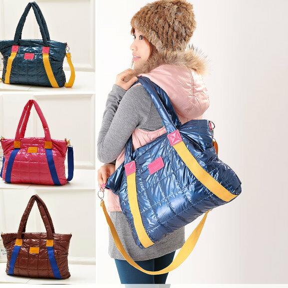日韓新款手提肩背斜背包媽媽包太空包-3色