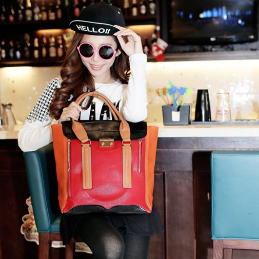 2014款日韓流行歐美女包大包購物袋撞色包蝙蝠包通勤包手提女包/單售