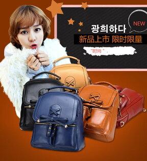 2014款日韓流行英倫後背包素面百搭雙口袋款-5色單售