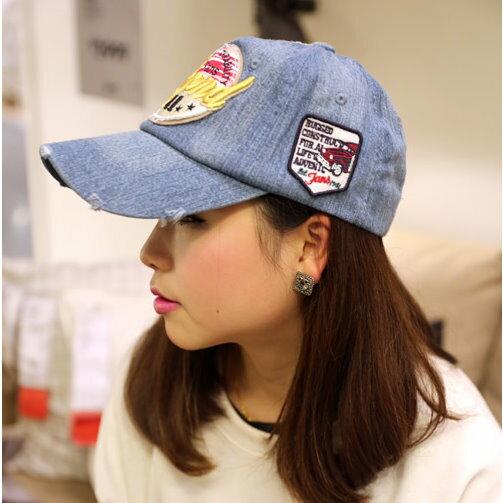 日韓春夏季新品街頭潮人帽棒球帽牛仔款M24男女情侶適用