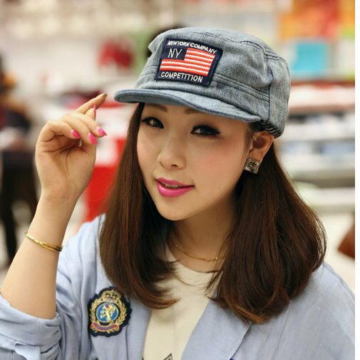 日韓春夏季新品 軍帽平頂帽國旗牛仔款M24男女情侶適用