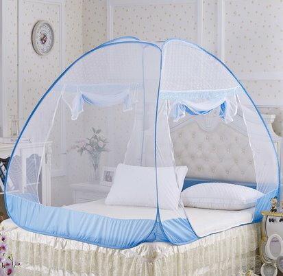 1.5米蚊帳蒙古包蚊帳加密無底防蚊布拉鏈自動魔術蚊帳