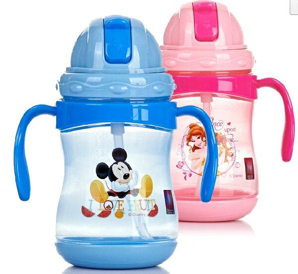 正版迪士尼兒童學飲杯雙手柄訓練水杯防漏吸管杯360ML