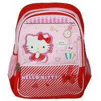 兒童節禮物Children's Day到正版 Hello Kitty 凱蒂貓兒童書包雙肩包後背包2-6年級-KT5089紅色斜紋款