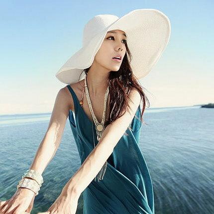 韓國 遮陽帽大沿帽遮陽太陽帽子沙灘帽大檐帽大草帽 無緞帶