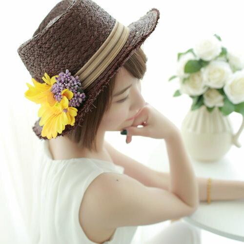 花朵草帽包郵夏季新品爵士禮帽寬簷帽菊花散穗度假遮陽防曬女帽子