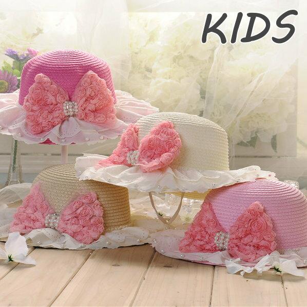 寶寶遮陽帽韓國女童草帽小孩涼帽兒童帽子春夏天太陽帽花朵帽 ~  好康折扣