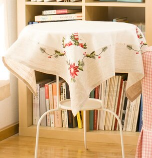 85*85cm裝飾餐桌布桌旗魯繡棉麻布藝刺繡客廳茶幾蓋布單售