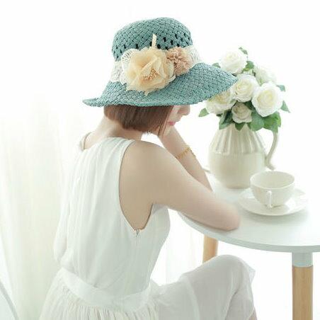 2014夏季新品甜美蕾絲緞帶花朵圓頂淑女帽草編草帽遮陽帽子
