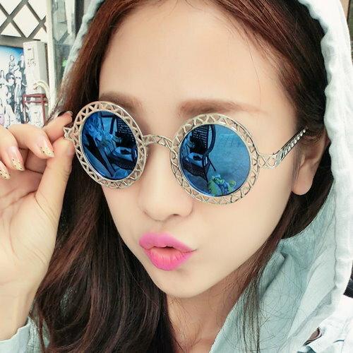 日韓流行款 復古鏤空女士太陽眼鏡圓形金屬墨鏡