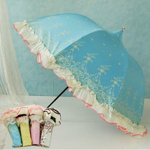 新品防紫外線防曬遮陽傘不透光防UV裙邊傘 晴雨傘 折傘透光黑膠傘