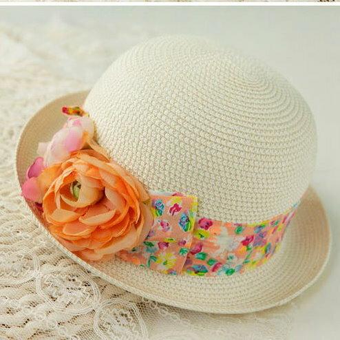 新品花朵碎花草帽 卷邊田園風蝴蝶結圓頂帽沙灘小丸子帽