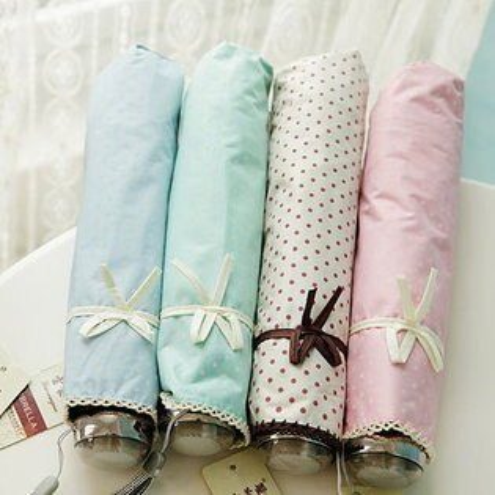 新品防曬晴雨傘拱形甜美公主波點蝴蝶結糖果色彩膠傘