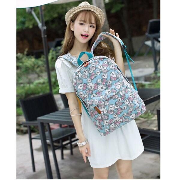 日韓新款流行時尚後背包旅行包森系風格碎花鐘