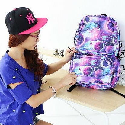 日韓新款流行時尚星空帆布旅行背包學生書包電腦包