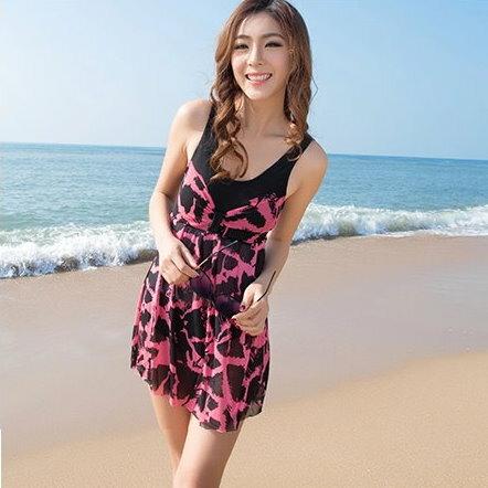 日韓夏新款性感女泳衣溫泉保守小胸聚攏連體裙式泳裝遮肚顯瘦兩件式-蝴蝶結
