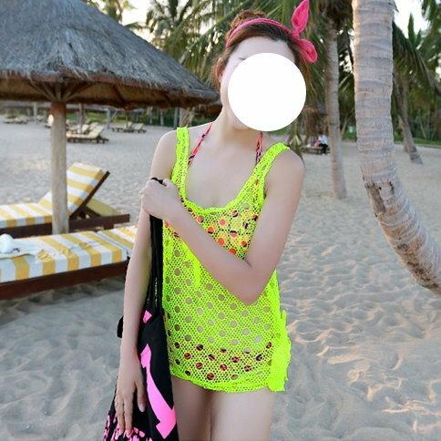 日韓夏新款性感螢光比基尼三件套集中帶鋼托遮肚泳裝