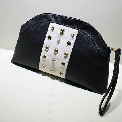 2014夏季新款歐美黑白鉚釘半圓包鏈條包單肩包
