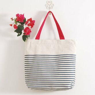 日系森系ZAKKA風小清新條紋單肩手提帆布包購物袋女包