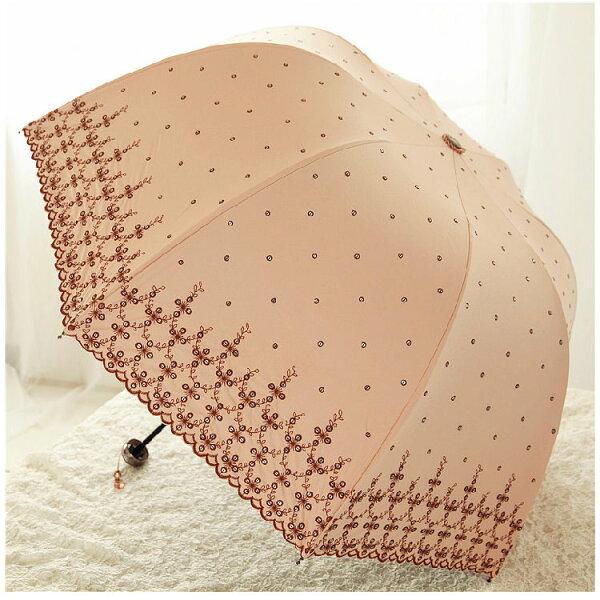 新品黑膠傘遮陽傘防曬抗UV刺繡亮片遮陽傘晴雨傘三折傘