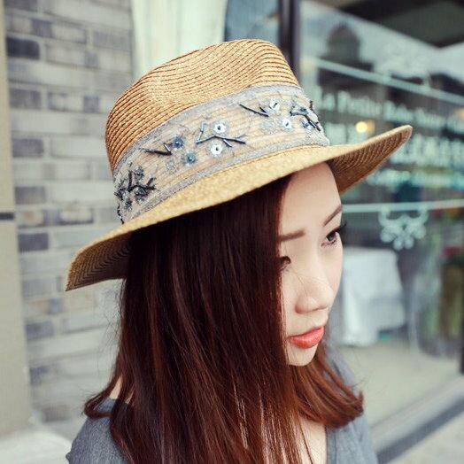 時尚刺繡絲帶夏季沙灘草帽女度假帽子草編禮帽女戶外透氣遮陽帽