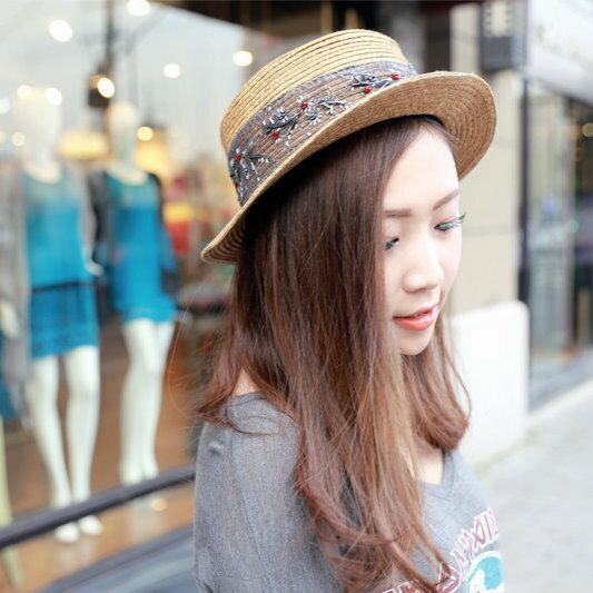 2014夏季草帽小禮帽手工刺繡絲帶平頂帽卷邊帽遮陽帽海灘沙灘帽