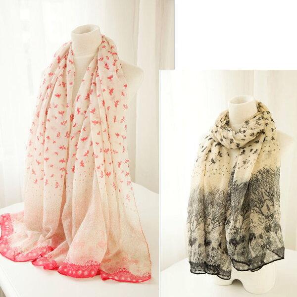 秋季新款围巾韩版飛鳥圖案棉麻纱巾新品薄款女士披肩
