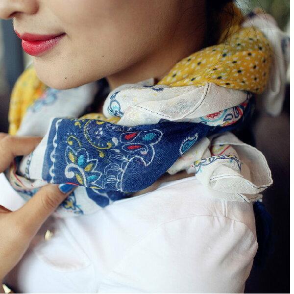 秋季新款拼色撞色腰花朵長款流蘇女士披肩圍巾