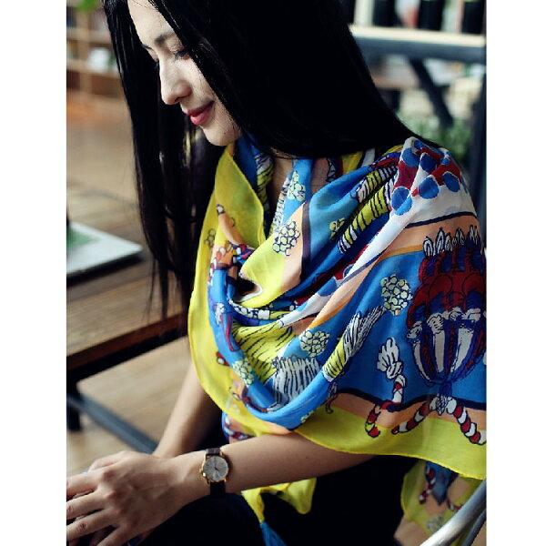 秋季新款民族風撞色正黃藍圖案流蘇女士披肩圍巾