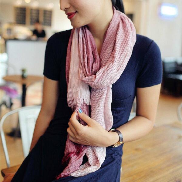 秋季新款褶皱款棉质加長韓版漸變色女士圍巾