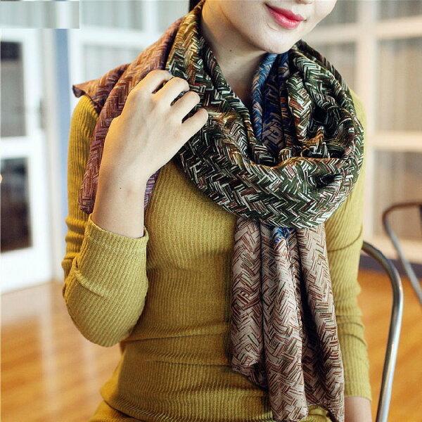 秋季新款加長拼色撞色斜纹垂墜感森女系圍巾