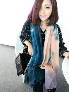 韓版漸變色圍巾韓國秋冬棉麻披肩2014新品創意字母水墨女士圍巾