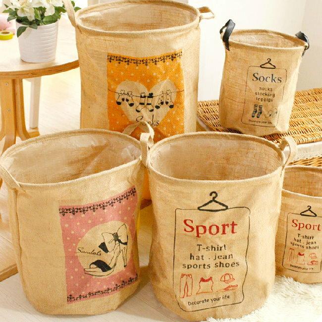 日式雜貨 棉麻可折疊手提收納袋 麻布收納籃 洗衣袋/大款