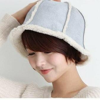 麻吉小舖:日韓流行冬季帽子漁夫帽豎排條紋羊毛混紡圓頂八角厚實保暖立體盆帽