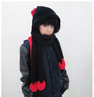 日韓流行 冬季帽子 趙敏英同款可愛球球保暖針織毛線圍巾圍脖連帽