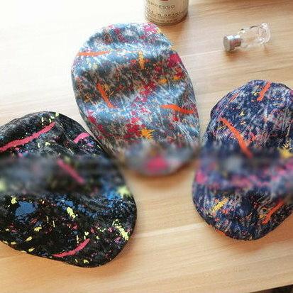 日韓流行韓國彩色噴漆塗鴉紮染牛仔休閒英倫遮陽鴨舌帽子男女