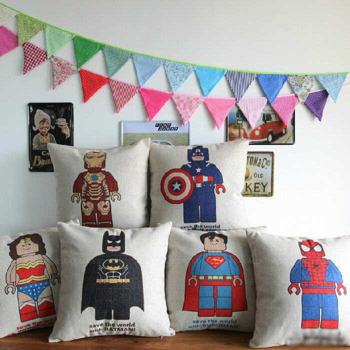 45^~45 卡通蝙蝠人鋼鐵人蜘蛛人棉麻抱枕套 沙發靠墊 家居酒吧  單面圖案