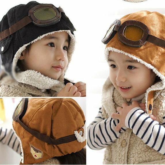 秋冬韓版寶寶毛絨帽兒童毛絨飛行帽護耳帽