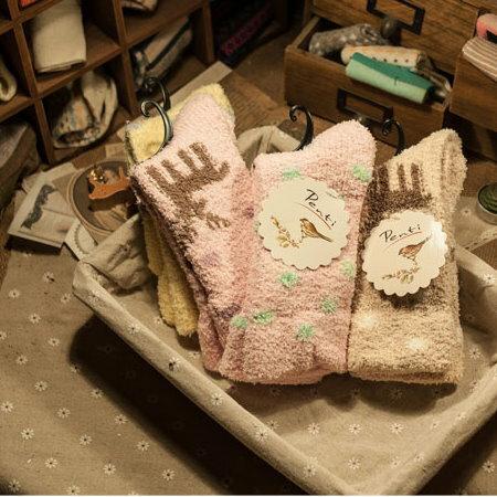 日韓系 保暖冬季居家女襪子 加厚珊瑚絨襪