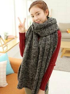 新款冬季雜色毛線圍巾女超長加厚冬天情侶圍巾圍脖針織