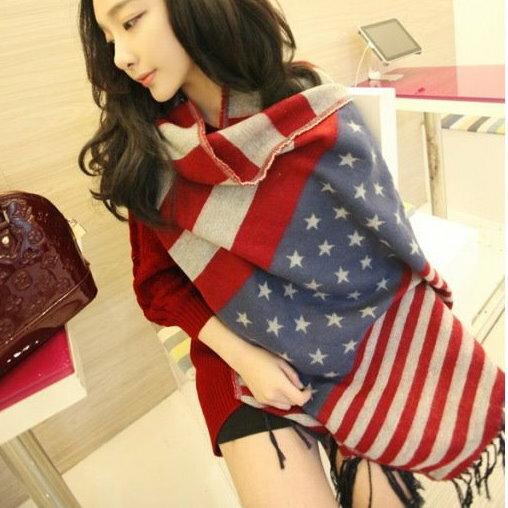 百搭美國國旗仿羊絨保暖圍巾披肩男女情侶圍巾