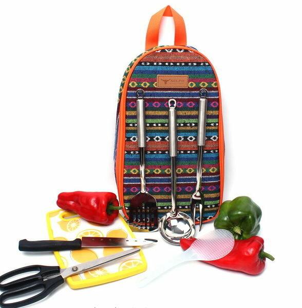 露營戶外野炊廚具便攜不銹鋼炊具刀具手提包7件組