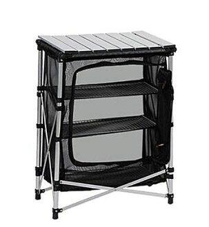 露營戶外野炊廚房置物鋁合金折疊三層碗櫥桌鋁管網籃組(銀色款)