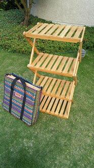 露營戶外居家折疊花架置物架竹製-四層款(附收納袋)