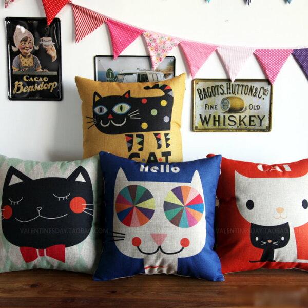 45*45大頭貓咪簡約風棉麻抱枕套沙發靠墊家居酒吧單面圖案