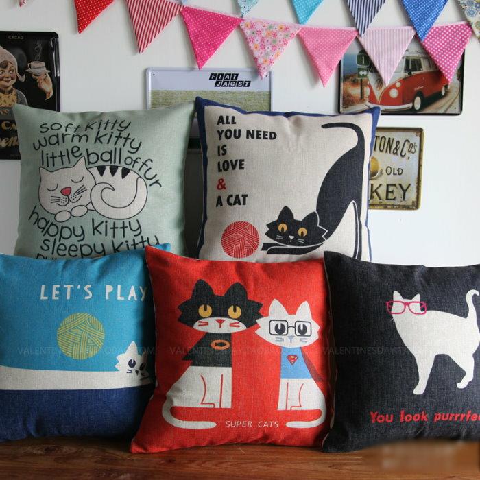 45*45 貓咪朋友簡約風棉麻抱枕套 沙發靠墊 家居酒吧 /單面圖案