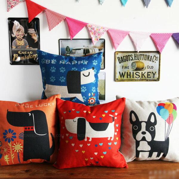 麻吉小舖:45*45愛心狗簡約風棉麻抱枕套沙發靠墊家居酒吧單面圖案