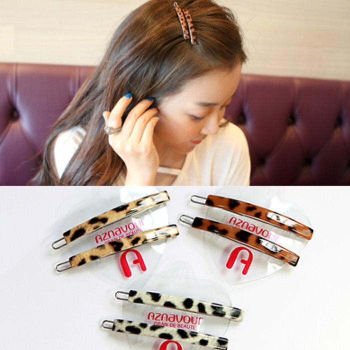 韓國製髮飾 新款豹紋斑點基本款一字夾髮夾瀏海夾邊夾(1對)N23