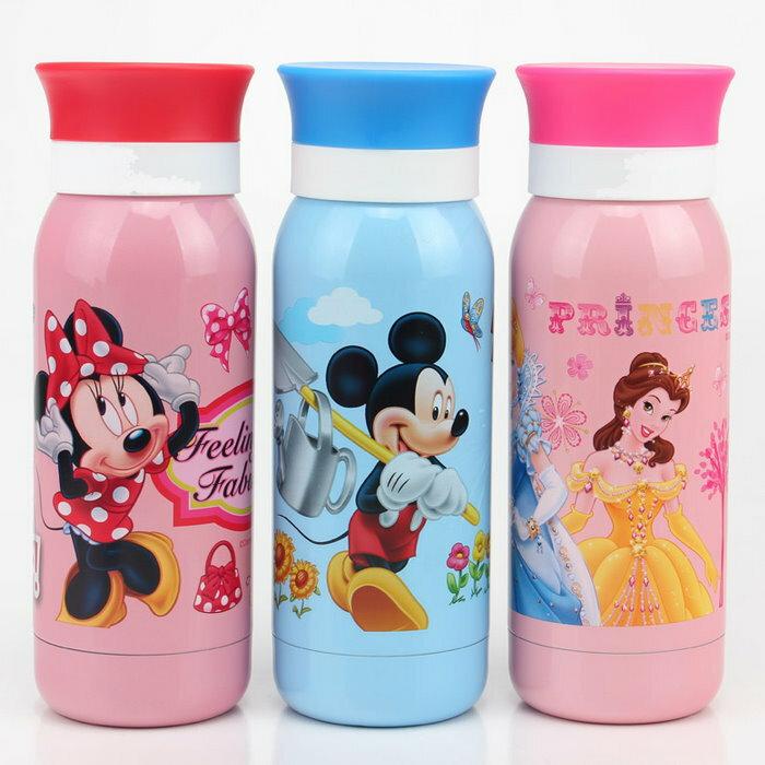 新款 迪士尼米奇米妮維尼 不鏽鋼保溫水壺/吸管直飲兩用保溫壺350ml//單售